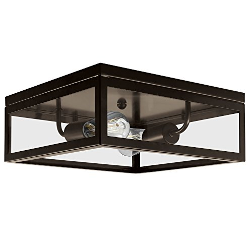 Flush Two Light (Globe Electric Memphis 2-Light Flush Mount Ceiling Light, Dark Bronze Finish, Clear Glass Panes, 65748)