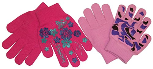 NIce Caps Girls Magic Stretch 2 Pair Pack Novelty Gloves