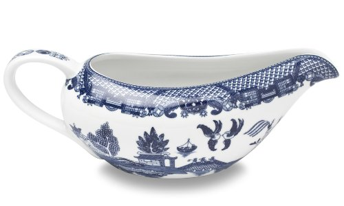 HIC Harold Import Co. YK-337 HIC Blue Willow Gravy Boat, Fine White Porcelain, 20-Ounces