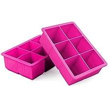 Tovolo Fuchsia Silicone King Cube Ice Tray, Set of 2