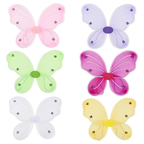 Butterfly Child Wings Kit - Blue Panda 6 Pack Girls Butterfly Fairy Costume Wings, Kids Pretend Play, Halloween Accessory