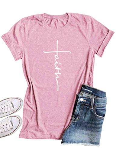 Faith Womens Pink T-shirt - Hoyod Womens Causal Faith Printed T-Shirt Christian Graphic Tees Pink S