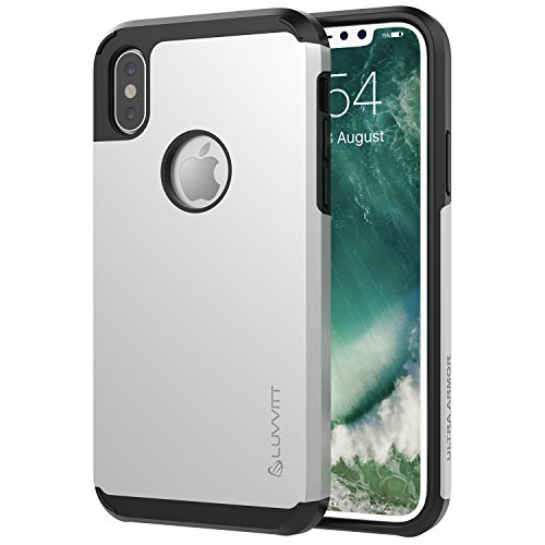 Luvvitt Ultra Armor Case with Dual Layer Heavy Duty Protection and Air Bounce Technology for iPhone X 10 (2017) - Silver