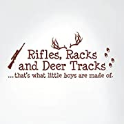 Rifles Racks And Deer Tracks That's What Little Boys Are Made Of Wall Decal Sign Little Boys Sticker Kids Room Decor Hunter Room Decal #1279 (28  wide x 12  high) (Matte Brown)