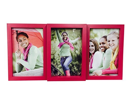 PINK 3 Panel 4x6 Photo Picture Frame with Tabletop Stand