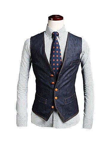 Evaliana Men's Formal Denim Vest Cowboy Slim Fit Jacket