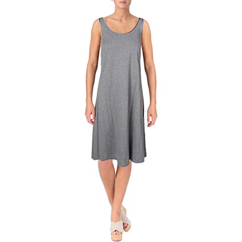 Lord & Taylor Womens Heathered Satin Trim Sleep Tank Gray L
