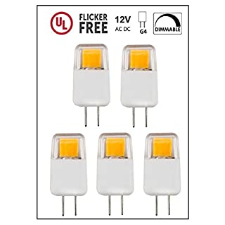 CBconcept UL Listed, G4 LED Light Bulb, 5 Pack, Epistar COB 1.7 Watt, Dimmable, 220 Lumen, Warm White 3000K, 360 degree Beam Angle, 12 Volt, 20W Equivalent, G4 Bi Pin Base Halogen Replacement Bulb