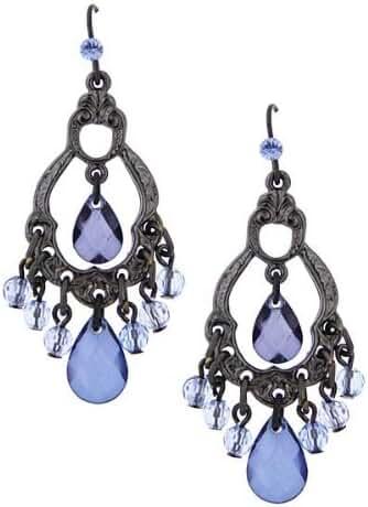 1928 Jewelry Harvest Blueberry Hues Jet-Tone Blue Briolette Chandelier Earrings