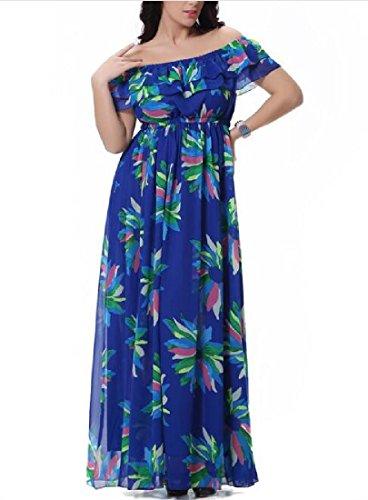 Les Fleurs De Confortables Femmes Hors Grande Robe De Plage Maxi Ourlet En Mousseline De Soie Épaule As1