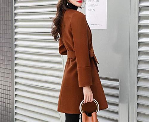 Cappotto Lana Da Di Nizi Cappotto caramellata Quercia Invernale Donna Donna Cappotto Di Lana Media Di Sottile XQY Cappotto Lunghezza vq7Awq