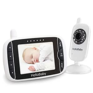 HelloBaby Baby Video Monitor with LCD Display Screen and Camera with Automatic Night Vision,Two-Way Audio,Room Temperature Monitoring,Long Range&Support Multi Camera (3.2Inch Baby Monitor)