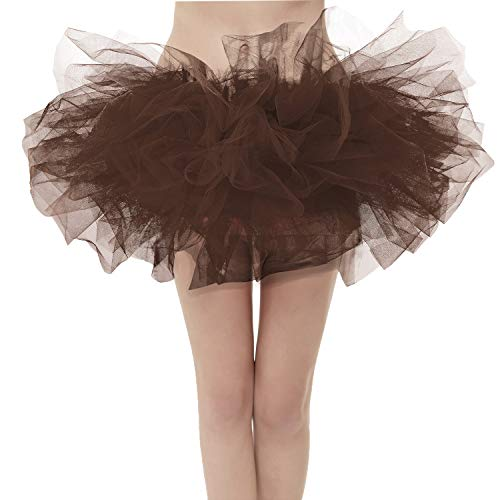 Girstunm Women's Classic Layers Fluffy Costume Tulle Bubble Skirt Brown-Standard Size