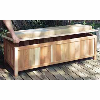 Charmant Cedar Storage Bench Outdoor Ready With Cushion (Cedar W/ Natural Cushion)