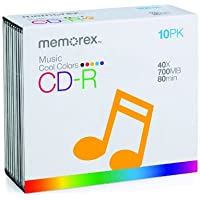 Memorex 700MB/80-Minute Music CD-R Media (Cool Colors, 10-Pack with Jewel Cases) (Discontinued by Manufacturer)