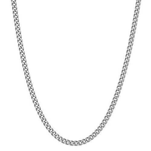 "Sterling Silver Curb Link Chain Necklace Solid 2.3mm Wide 16-20"" Inch Length (20)"