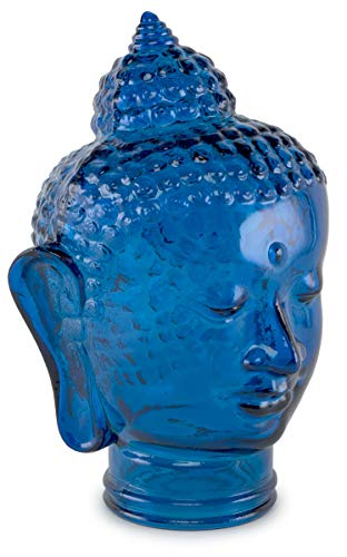Traders and Company Spanish 100 Recycled Glass Cobalt Blue Buddha Head – 11.5 H