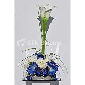 Artistic Artificial White Calla Lily, Ivory Rose, Blue Gerbera and Anemone Floral Arrangement 20