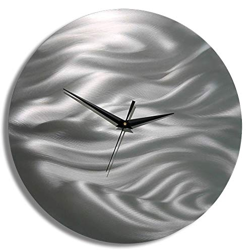 Statements2000 All Natural Silver Etched Modern Metal Wall Clock - Abstract Functional Art - Contemporary Timepiece - Time After Time by Jon Allen - 11-inch