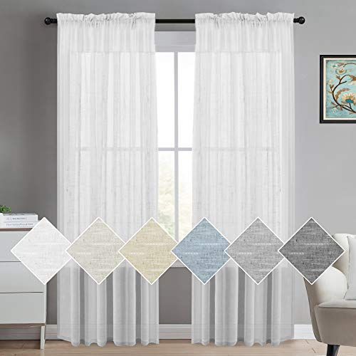 (White Linen Sheer Curtains 108 Inches Long Natural Linen Blended Textured Semi Sheer Curtains for Living Room/Bedroom Rod-Pocket Extra Long Panels, Premium Soft Rod Pocket Window Panel, 2 Panel)