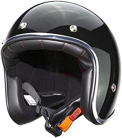 Amazon.es: Casco de moto jet con remaches Pendejo by iguana custom collection negro brillo (XS)