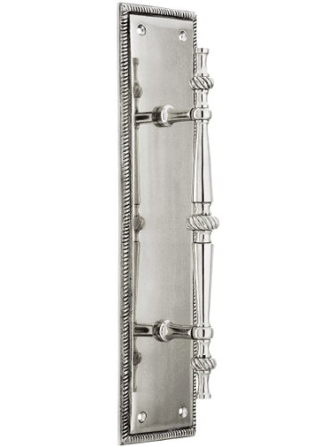 Large Traditional Door Pull With Rope Back Plate In Polished Nickel