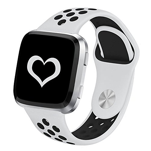 DEKER for Fitbit Versa Bands for Women Men Small Large Wrist, Breathable Soft Fitness Sport Silicone Strap Replacement Accessories Wristbands for Fitbit Versa Smart Watch (White/Black,Small)