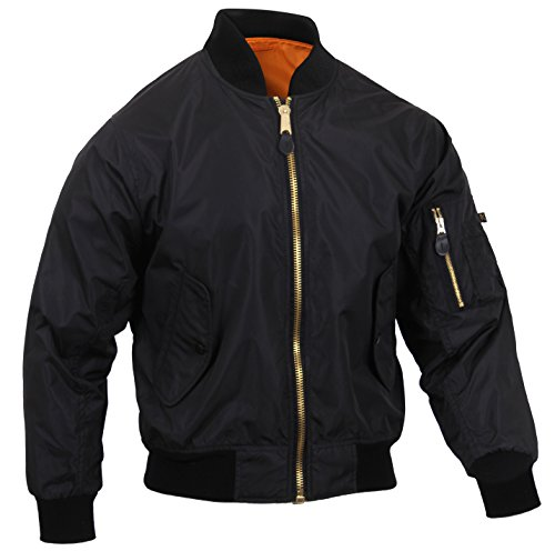 [Rothco Lightweight MA-1 Flight Jacket, Black, L] (Lightweight Flight Jacket)