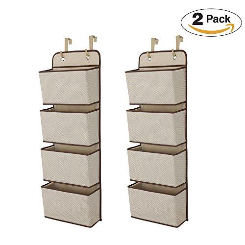 Delta Children 4 Pocket Over The Door Hanging Organizer, 2 Pack, Beige/Tan