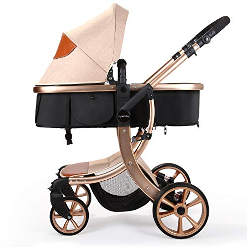 Baby Stroller Compact Reversible Bassinet Pram Strollers Foldable Citi Carriage All Terrain Convenience Pushchair Lux Boy Girl Stroller for Infant and Toddler (Khaki)