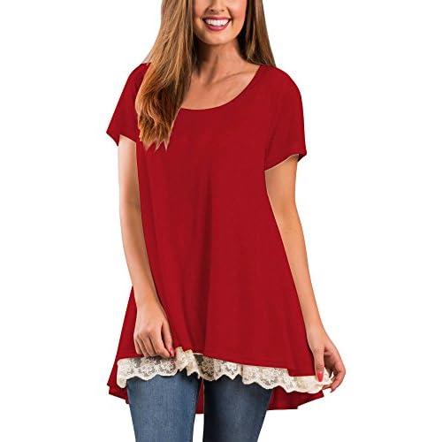 b98fcfd82 cheap Veranee Women's Long Sleeve Swing Tunic Shirts Lace Splicing Tunic  Top Blouse