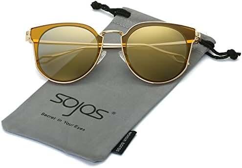 SojoS Fashion Polarized Sunglasses Metal Frame UV400 Mirrored Lenses SJ1057
