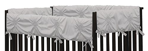 Solid Color Grey Shabby Chic Long Front Crib Rail Guard Baby Teething Cover Protector Wrap for Harper Collection by Sweet Jojo Designs by Sweet Jojo Designs (Image #1)