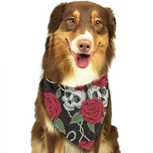 (Pet Dog Bandana Triangle Bibs Scarf Intage Red Rose Skull Hankie Headchief for Dogs and Cats - Birthday Bandana Scarves Great Dog Gift Idea)