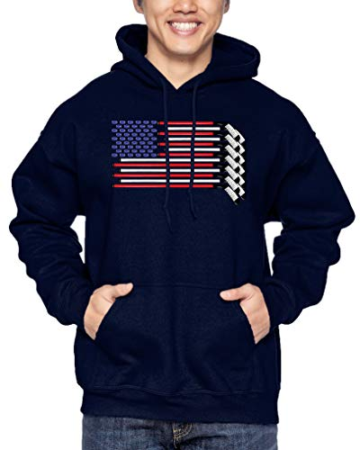 Haase Unlimited American Flag with Hockey Sticks - Sports Unisex Hoodie Sweatshirt (Navy, X-Large)
