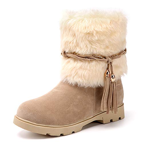 Susanny Women's Winter Fashion Warm Short Booties Casual Outdoor Suede Flat Heel Waterproof Faux Fur Beige2 Snow Boots 5.5 B (M) US