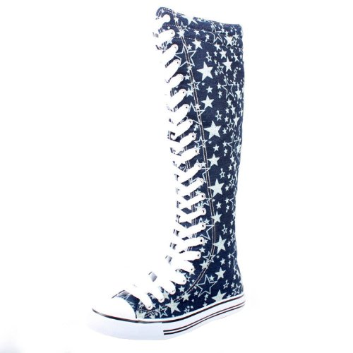 West Blvd Womens SNEAKER Boots Knee High Lace Up Flat Punk Canvas Skate Shoes, Blue Star Linen