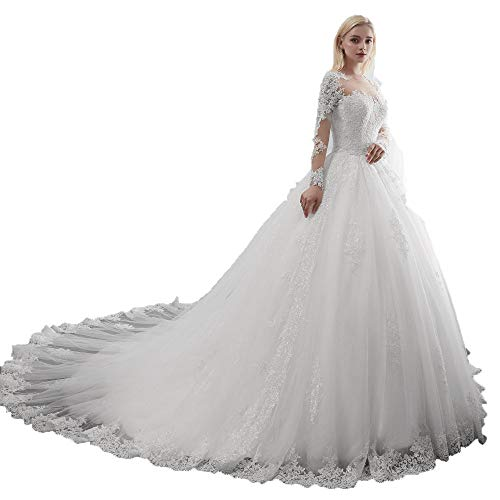- Miao Duo Women's Scoop Lace Long Sleeves Wedding Dresses for Bride Long A line Beads Maxi Bridal Gowns with Chapel cathedrl Train White 6