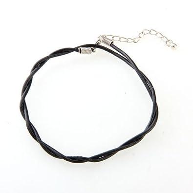 Facilla Adjustable Black Leather Anklet Chain Ankle Bracelet Hot