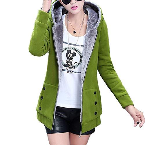 Anteriori Con Cappuccio Addensare Invernali Mantello Solidi Di Manica Colori Alta Cerniera Lunga Coat Outerwear Qualit Tasche Donna N0wvnm8