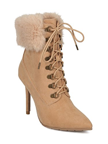 uede Pointy Toe Corset Lace Up Faux Fur Trim Stiletto Bootie HD24 - Toffee Faux Suede (Size: 9.0) ()