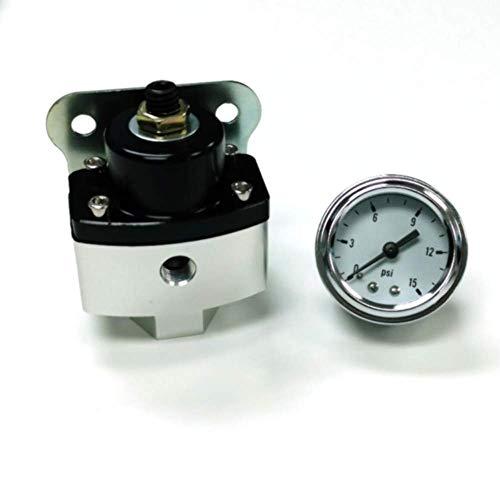 5-12 Psi Aluminum Adjustable Fuel Regulator Black W/White Gauge 3/8
