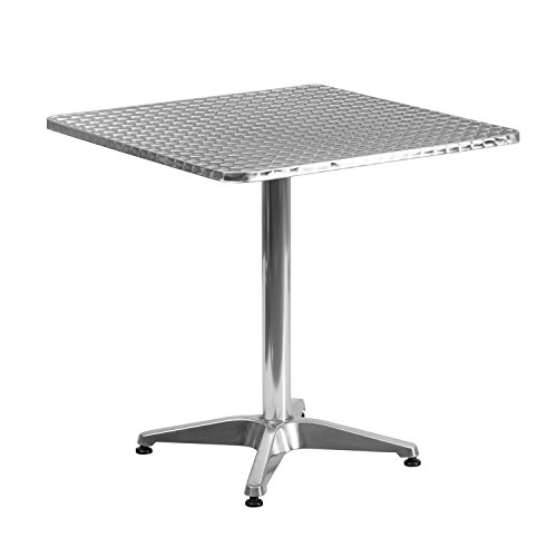 Flash Furniture 27.5'' Square Aluminum Indoor-Outdoor Table with Base (Outdoor Buy And Chairs Table)