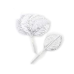 Silk Leaf Green Artificial Leaves Flower DIY HOME Decorative Christmas Party decoration Bouquet Wreaths Wedding Decor 120pcs (silver)