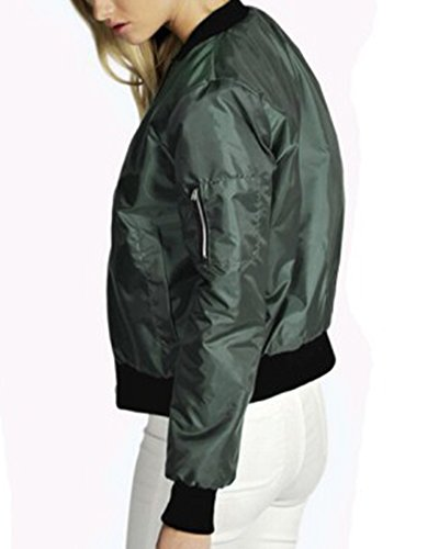 Classico Giubbotto Lunga Donna Verde Cappotti Cappotto Corti Bomber Manica Anyub Casuale 6qw15Z