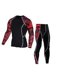 Men Workout Leggings Fitness Sports Gym Running Yoga Athletic Pants+Shirt Suit