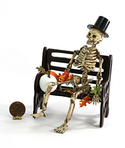(Dollhouse Miniature Aged Skeleton with Top Hat on Bench for Halloween )