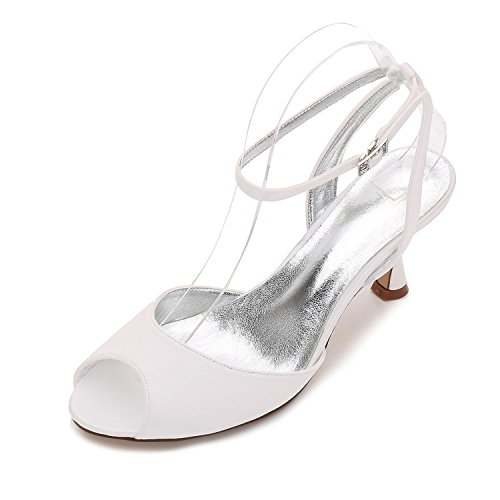 18 Boda E17061 L Low Tamaño para Sandalias Ivory Toe Heel Party Ladies YC Shoes Peep Nupcial Strappy Mujer 5pwFWFXxq