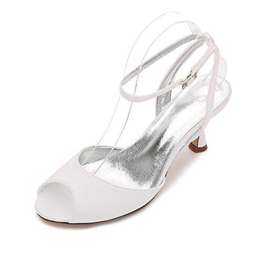 L@YC Boda Para Mujer E17061-18 Sandalias Peep Toe Ladies Low Heel Nupcial Strappy Party Shoes Tamaño Ivory