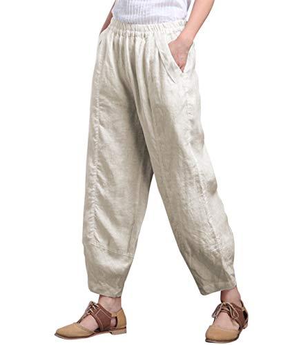 Aeneontrue Women's Cotton Linen Wide Leg Capri Pants Casual Relax Fit Lantern Trousers (Beige, XX-Large) (Best Wide Leg Trousers 2019)
